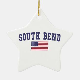 South Bend US Flag Ceramic Ornament