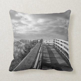 South Cape Beach Boardwalk in Black and White Throw Pillow