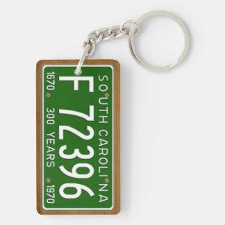 South Carolina 1970 Vintage License Plate Keychain Rectangular Acrylic Key Chain
