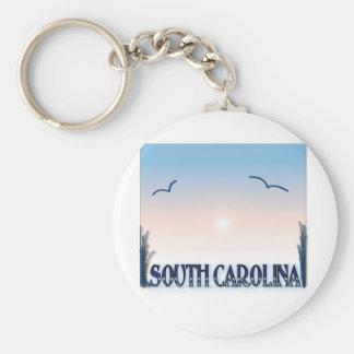 South Carolina Airbrush Sunset Basic Round Button Keychain