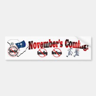 South Carolina Anti ObamaCare – November's Coming! Bumper Sticker