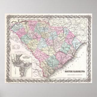 South Carolina Antique Map Poster