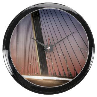 South Carolina Arthur Ravenel Jr Bridge Aqua Clock