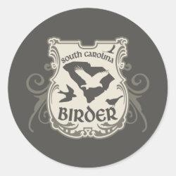 Round Sticker with South Carolina Birder design