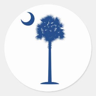 South Carolina Blue Palmetto tree and crescent Classic Round Sticker