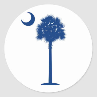 South Carolina Blue Palmetto tree and crescent Round Stickers