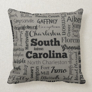 South Carolina cities throw pillow in gray/black