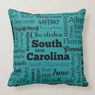 South Carolina cities throw pillow in teal/black