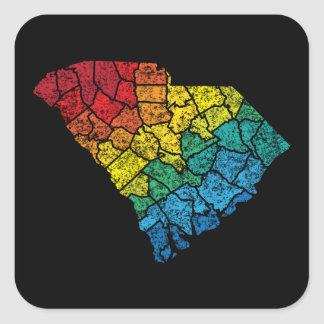 south carolina color counties square sticker