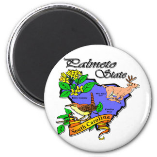 South Carolina Colorful State Deer Flower Bird 2 Inch Round Magnet