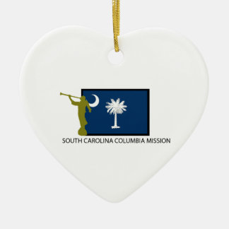 SOUTH CAROLINA COLUMBIA MISSION LDS CTR Double-Sided HEART CERAMIC CHRISTMAS ORNAMENT