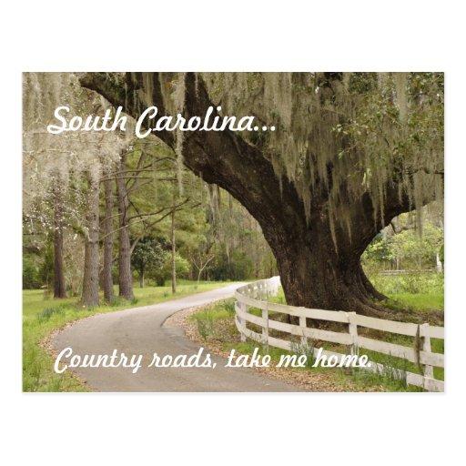 South Carolina country roads postcard