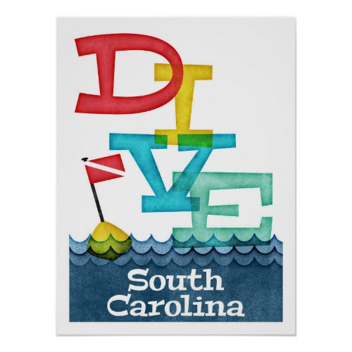 Colorful South Carolina Scuba Diving Poster