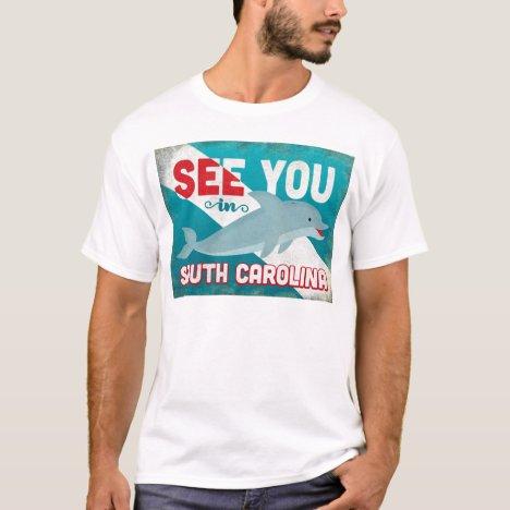 South Carolina Dolphin - Retro Vintage Travel T-Shirt