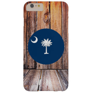 South Carolina flag circle on wood background Barely There iPhone 6 Plus Case