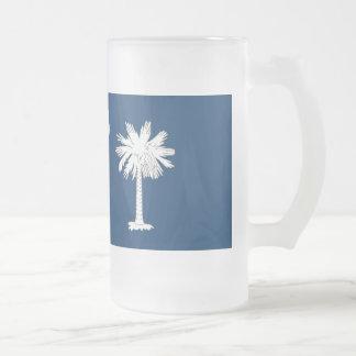 South Carolina Flag Frosted Glass Beer Mug
