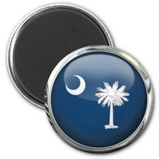 South Carolina Flag Glass Ball 2 Inch Round Magnet