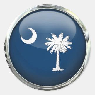 South Carolina Flag Glass Ball Classic Round Sticker