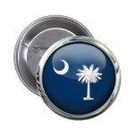 South Carolina Flag Glass Ball Pinback Buttons