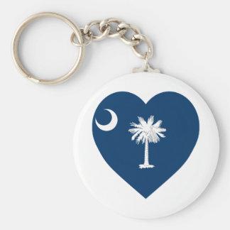 South Carolina Flag Heart Keychains