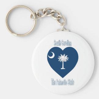 South Carolina Flag Heart Keychain