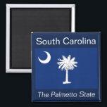 "South Carolina Flag Magnet<br><div class=""desc"">An authentic premium quality image of the flag of South Carolina set between the state name and nickname over a flag-color background.</div>"