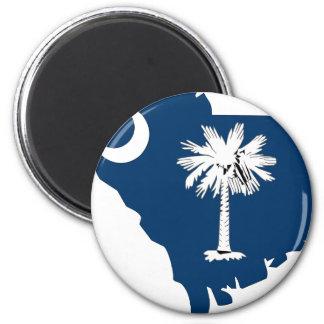 South Carolina Flag Map 2 Inch Round Magnet