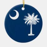 South Carolina Flag Double-Sided Ceramic Round Christmas Ornament