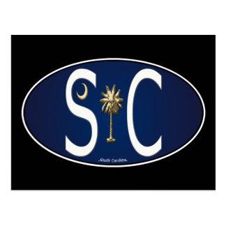 South Carolina Flag Oval Sticker Post Cards