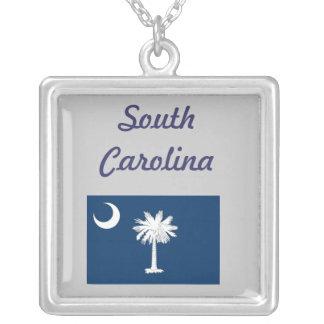 South Carolina Flag Square Pendant Necklace
