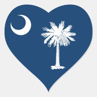 South Carolina Flag Heart Stickers