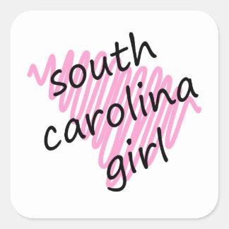 South Carolina Girl with Scribbled South Carolina Square Sticker