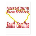South Carolina - God Loves Me Postcards