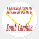 South Carolina - God Loves Me Round Sticker