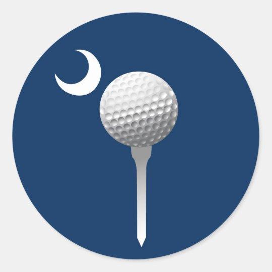South Carolina Golfball and Crescent Classic Round Sticker