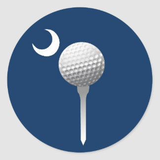 South Carolina Golfball and Crescent Round Stickers
