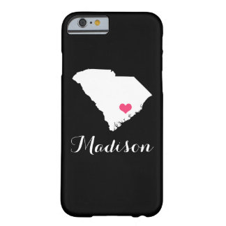 South Carolina Heart Black Custom Monogram Barely There iPhone 6 Case