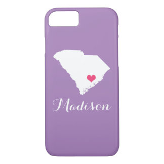 South Carolina Heart Lilac Purple Custom Monogram iPhone 8/7 Case