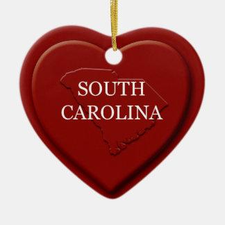 South Carolina Heart Map Christmas Ornament