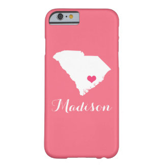 South Carolina Heart Pink Custom Monogram Barely There iPhone 6 Case