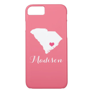 South Carolina Heart Pink Custom Monogram iPhone 8/7 Case