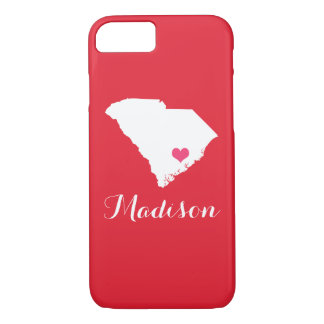 South Carolina Heart Red Custom Monogram iPhone 8/7 Case