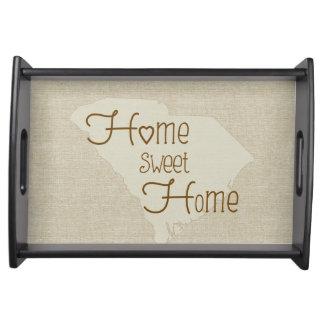 South Carolina Home Sweet Home burlap-look Serving Tray