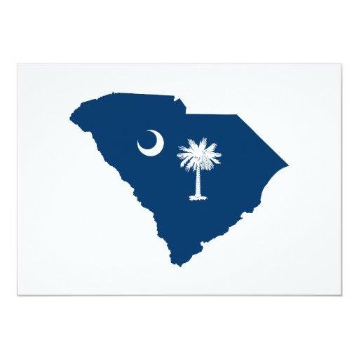 South Carolina in Blue and White 5x7 Paper Invitation Card