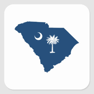 South Carolina in Blue and White Square Sticker