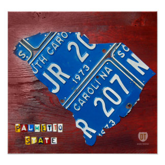 South Carolina License Plate Map Design Turnpike Posters