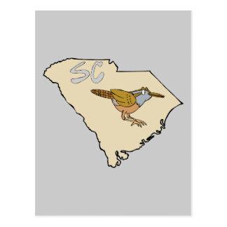 South Carolina Map & Carolina Wren Cartoon Art Postcards