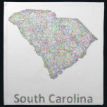 "South Carolina map Cloth Napkin<br><div class=""desc"">Colorful line art design map of South Carolina state.</div>"