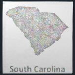 """South Carolina map Cloth Napkin<br><div class=""""desc"""">Colorful line art design map of South Carolina state.</div>"""