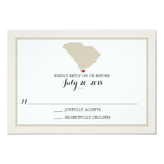 South Carolina Map with heart | Wedding RSVP Card